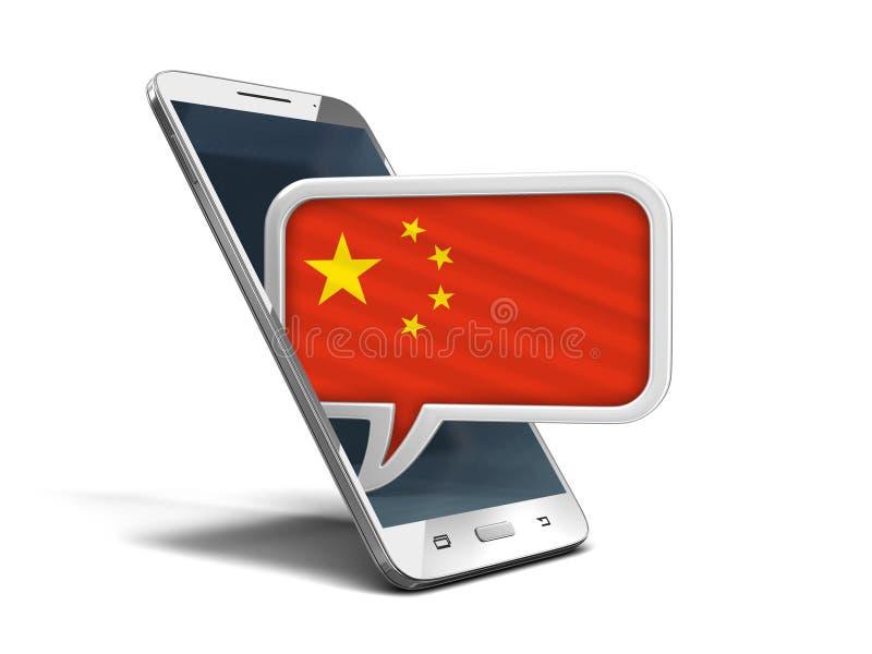 Smartphone οθονών επαφής και λεκτική φυσαλίδα με την κινεζική σημαία ελεύθερη απεικόνιση δικαιώματος