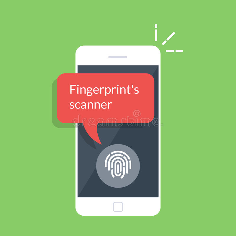 Smartphone που ξεκλειδώνεται με το κουμπί δακτυλικών αποτυπωμάτων, κινητή τηλεφωνική ασφάλεια, έγκριση χρηστών κινητών τηλεφώνων, ελεύθερη απεικόνιση δικαιώματος