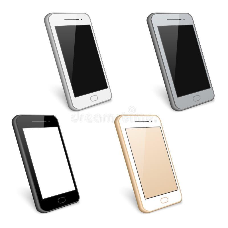 Smartphone, τηλέφωνο κυττάρων, διανυσματική συλλογή διανυσματική απεικόνιση
