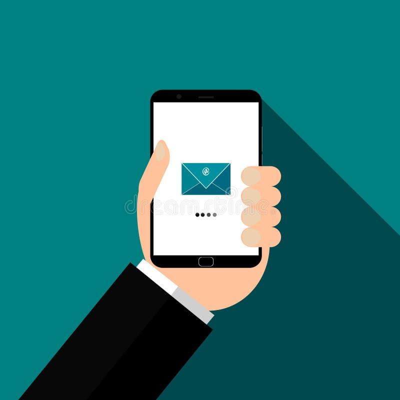 smartphone χεριών Έλεγχος του διανύσματος ταχυδρομείων, απεικόνιση διανυσματική απεικόνιση