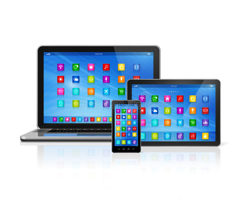 Smartphone, ψηφιακοί υπολογιστής ταμπλετών και lap-top διανυσματική απεικόνιση