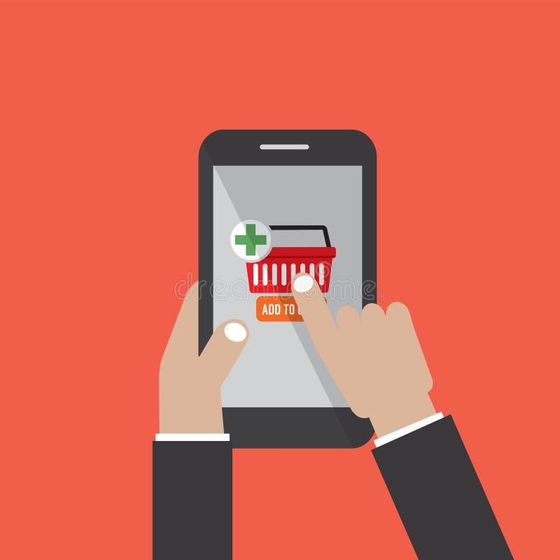 Smartphone владением руки с магазинной тележкаой и кнопкой оплаты на экране иллюстрация вектора
