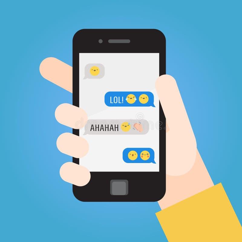 Smartphone в руке Сообщения с emoji часть 3 иллюстрация вектора