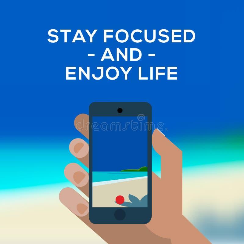 Smartphone делает изображение пляжа и моря иллюстрация вектора