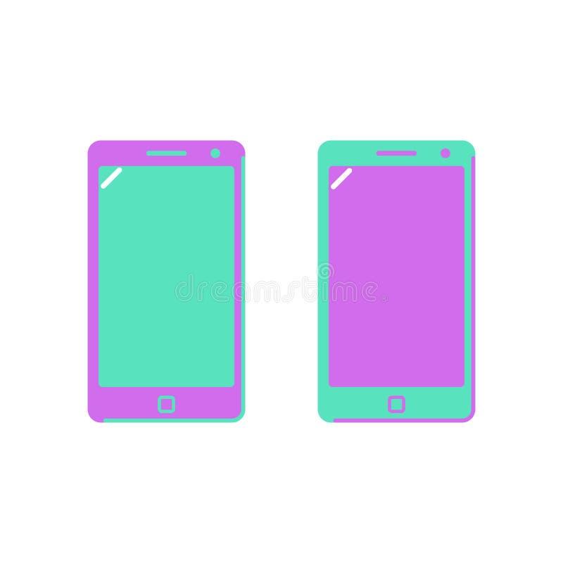 Smartphone значка, телефон Яркие цветы Плоский стиль иллюстрация штока