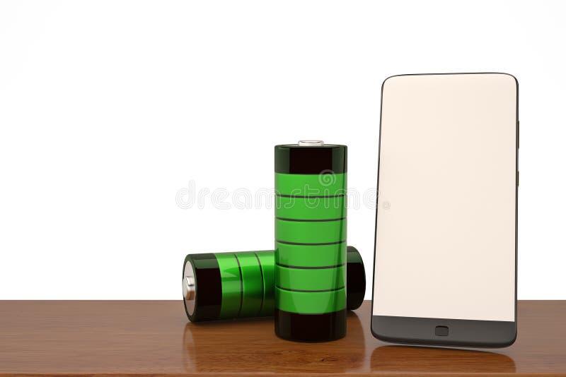 Smartphone и батарея концепции мобильного телефона поручая поручают indi иллюстрация штока