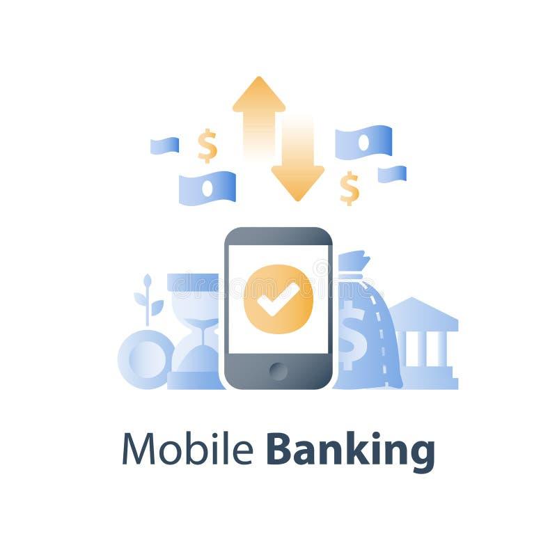 Smartphone и валютная биржа, знак доллара, передвижная оплата, онлайн-банкинг, финансовые обслуживания иллюстрация вектора