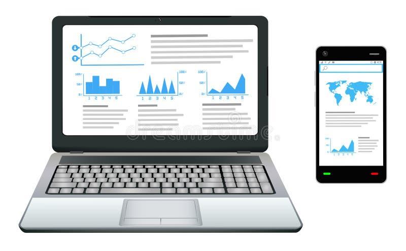 Smartphone и компьтер-книжка с делом работают график на экране иллюстрация вектора