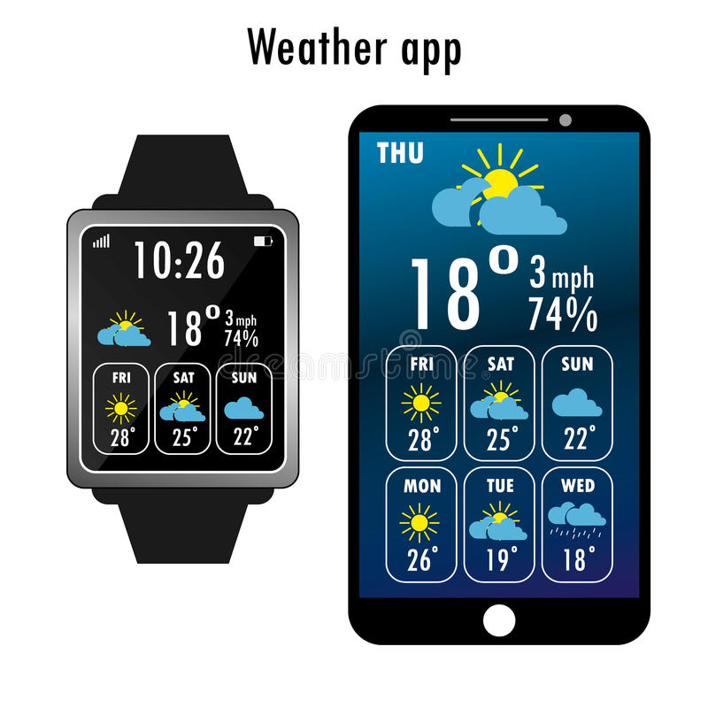 Smartphone и умный вахта с погодой app на экране иллюстрация вектора