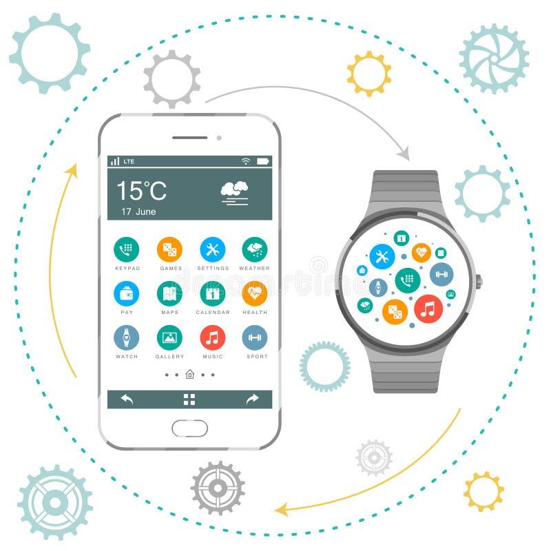 Smartphone и умный вахта иллюстрация вектора