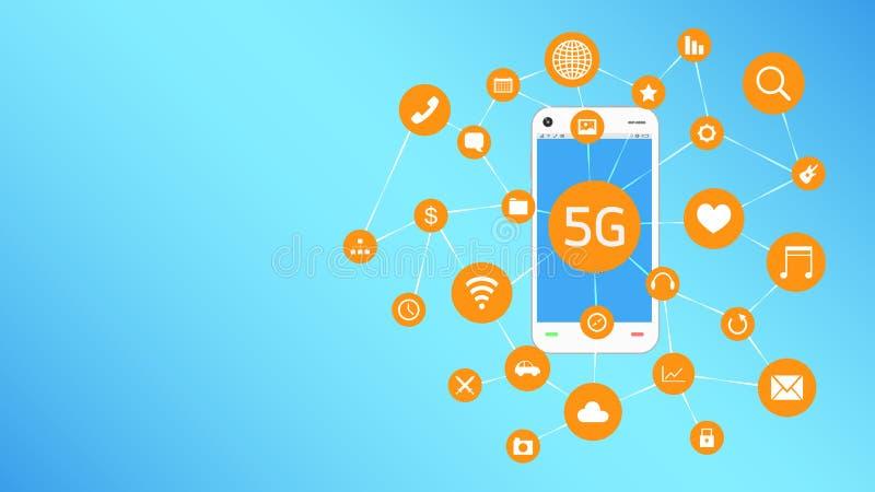 Smartphone и 5G с плавать значка apps иллюстрация штока