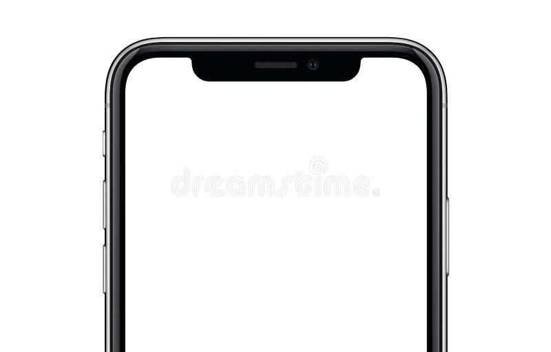 Smartphone конца-вверх новый современный подобный к модель-макету iPhone x изолированному на белой предпосылке иллюстрация вектора