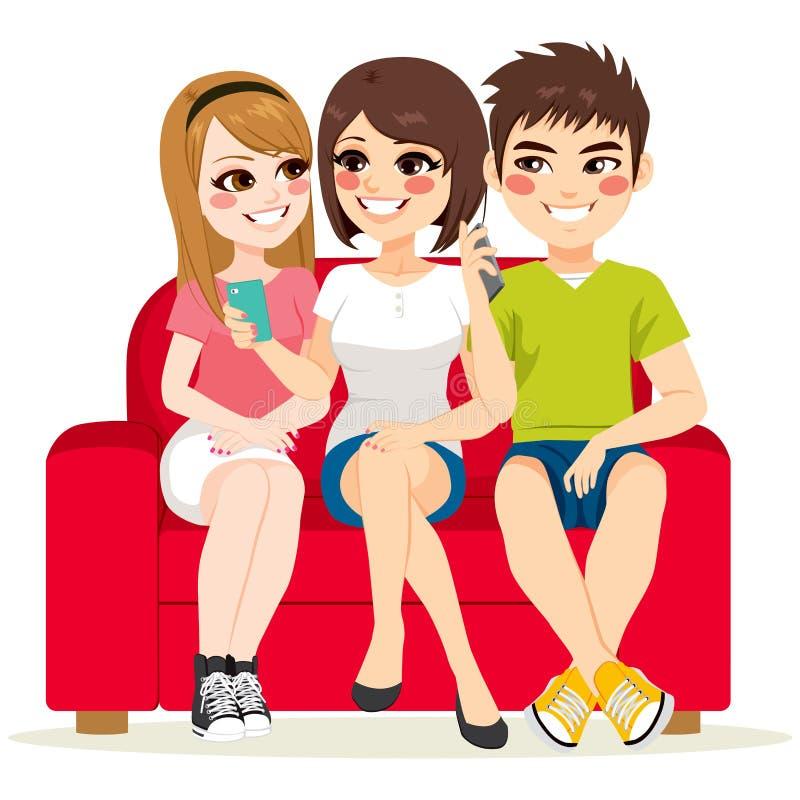 Smartphone кресла друзей иллюстрация штока