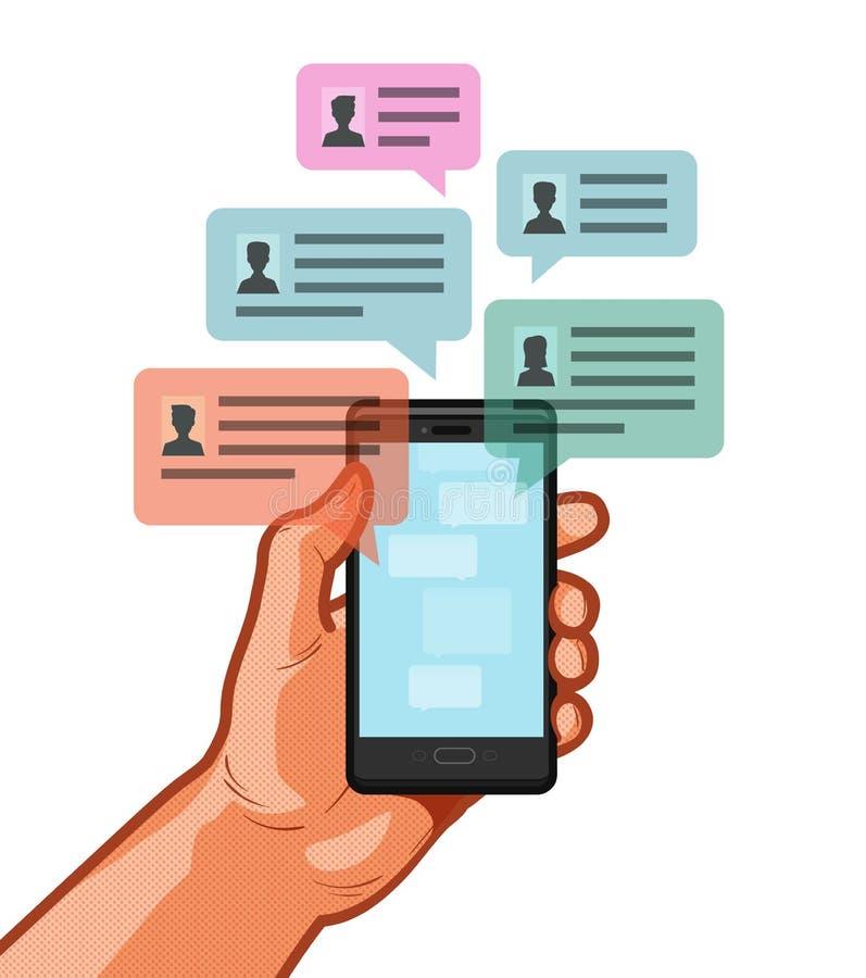 Smartphone, мобильный телефон в руке Беседующ, сообщение болтовни, онлайн говоря концепция также вектор иллюстрации притяжки core иллюстрация штока