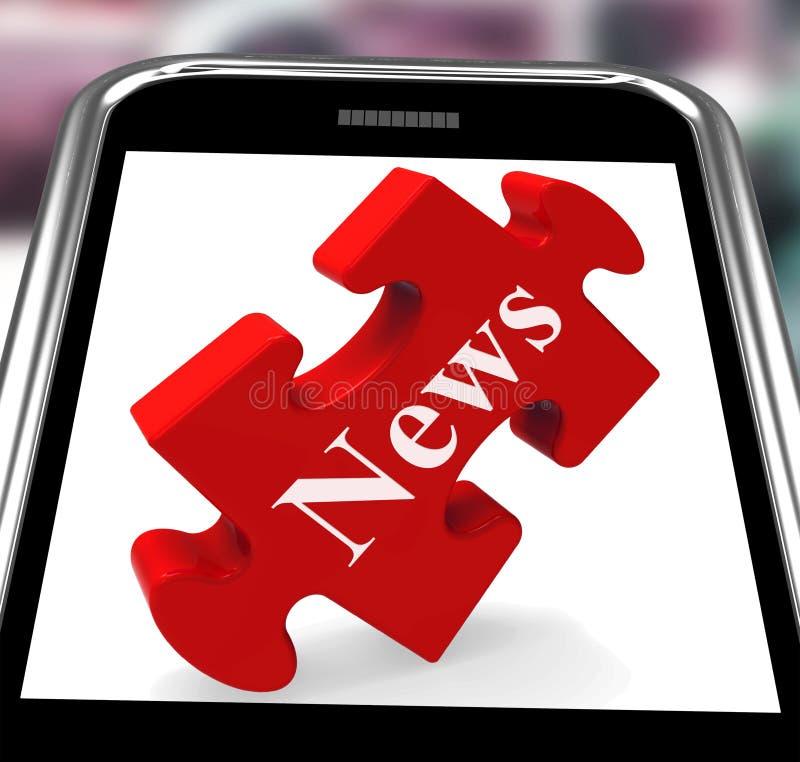 Smartphone новостей значит заголовки или бюллетень сети иллюстрация штока