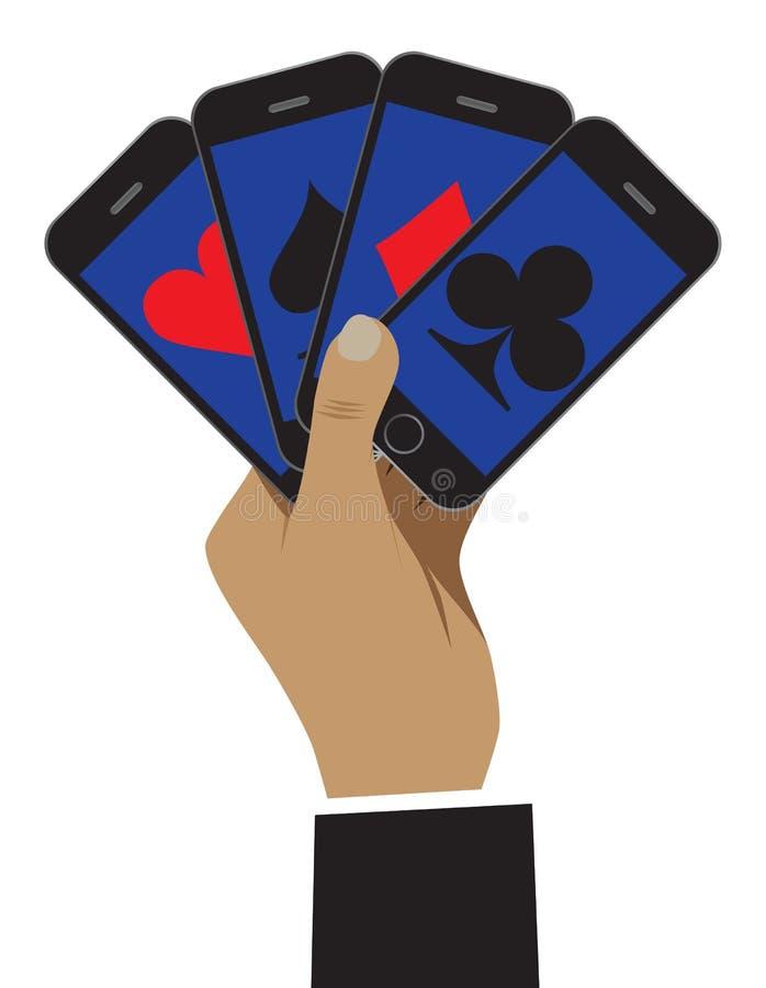 Smartphone показан как играя карточки Дело показано как a иллюстрация вектора