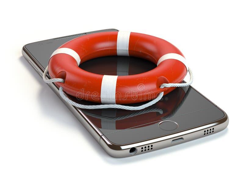 Smartphone при спасательный пояс изолированный на белой предпосылке Передвижной пэ-аш бесплатная иллюстрация