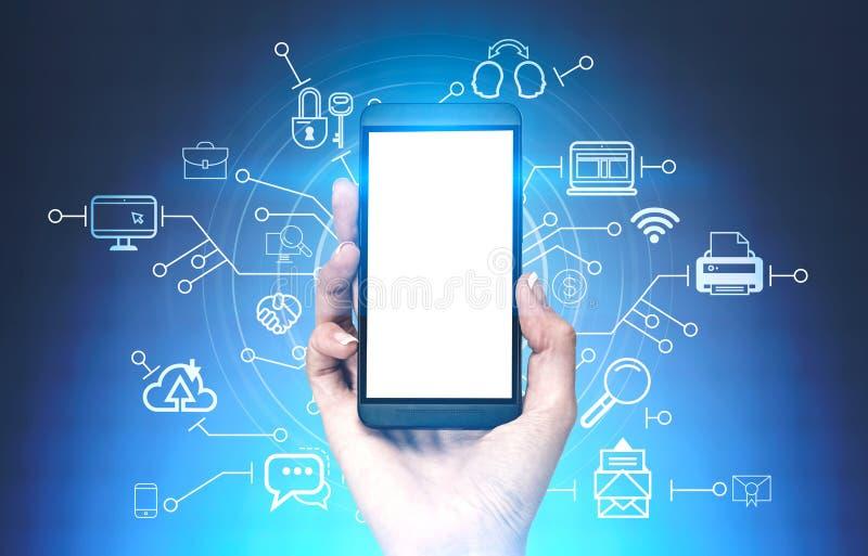 Smartphone руки женщины, интерфейс компьютера облака стоковые фотографии rf