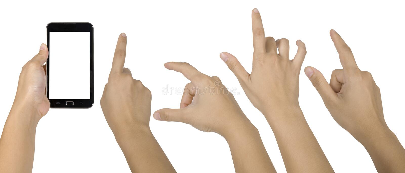 smartphone руки установленное стоковые фотографии rf