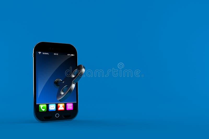 Smartphone с ключом clockwork бесплатная иллюстрация