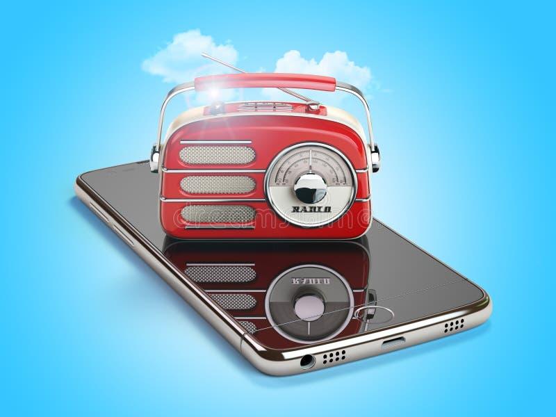 Smartphone с красным винтажным радио Strea в реальном маштабе времени радио AM FM черни бесплатная иллюстрация