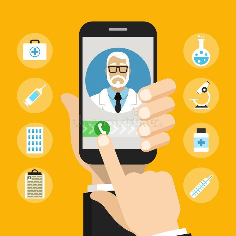 Smartphone с мужским доктором на звонке и онлайн консультации стоковое изображение rf