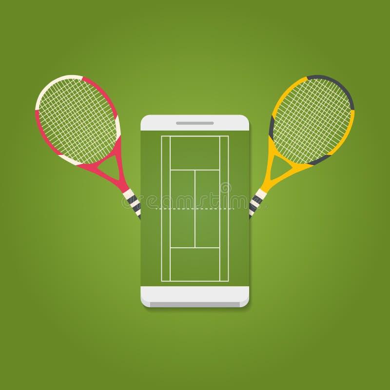 Smartphone с полем тенниса на экране и ракетках бесплатная иллюстрация