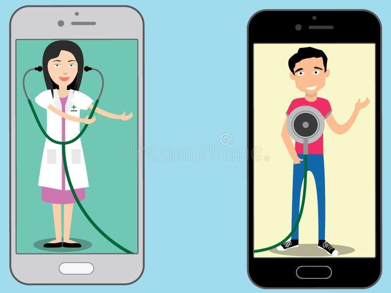 Smartphone с стетоскопом и доктором иллюстрация штока