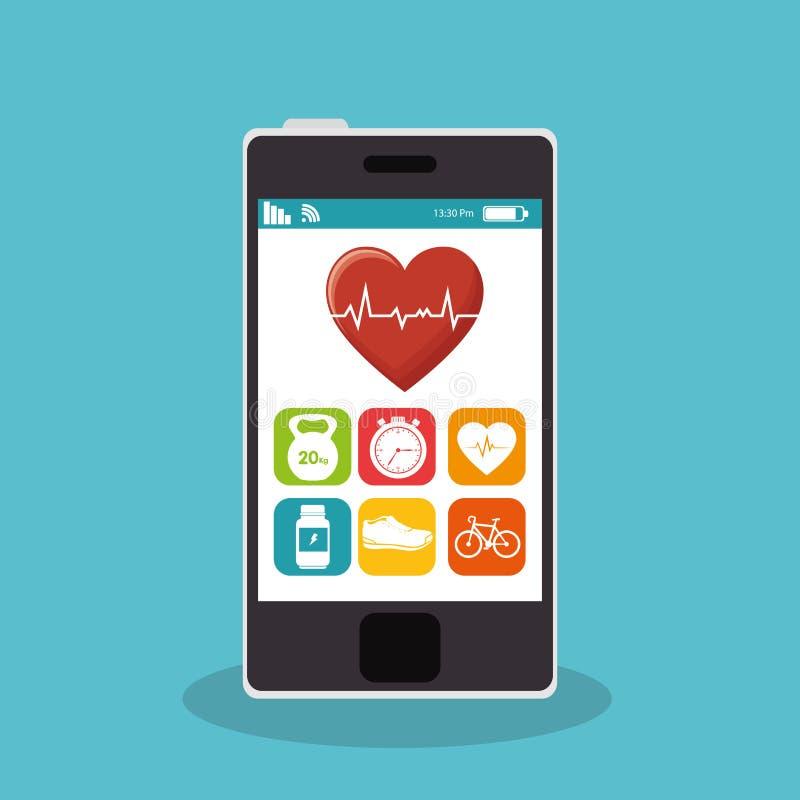 smartphone с фитнесом app иллюстрация вектора