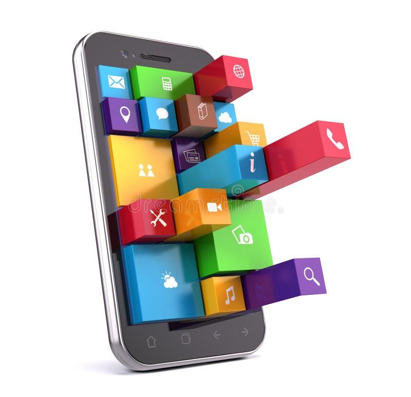 Smartphone с apps иллюстрация вектора