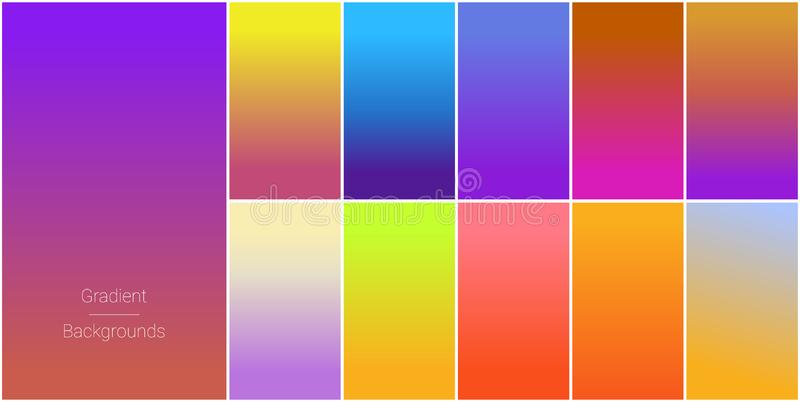 Абстрактный набор современных ярких предпосылок градиента цвета и текстура для мобильных применений и экрана смартфона бесплатная иллюстрация