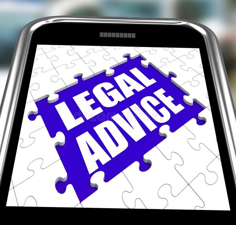Smartphone юридического совета показывает онлайн юриста иллюстрация вектора