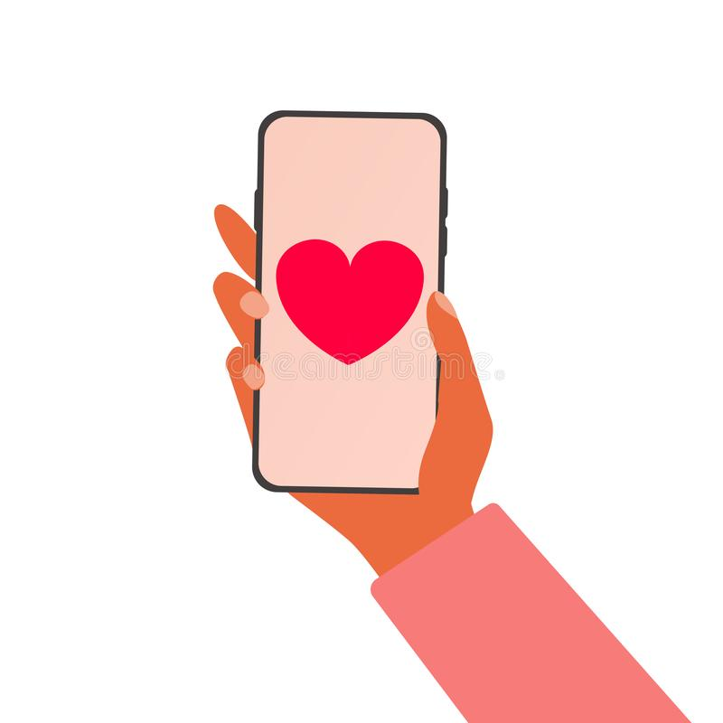 : ?smartphone?? 送与贺卡的信为情人节通过手机 r 向量例证
