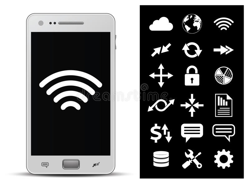 Smartphone and 18 icons