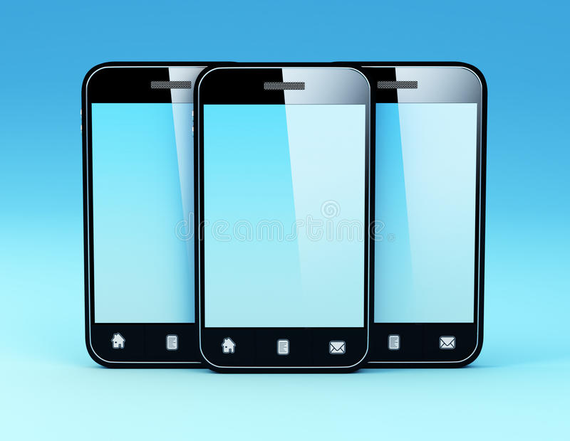 Smartphone. 3D Illustration of generic smartphone. Note: All Devices design and all screen interface graphics in this series are designed by the contributor him stock illustration