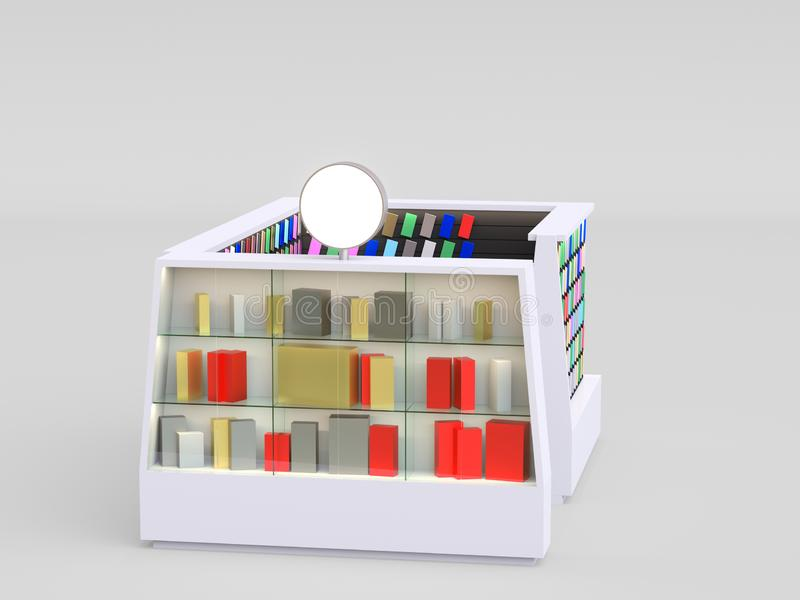 Smartphone accessories kiosk selling phone cases and other smartphone items inside of a mall. 3d render. your logo stock illustration