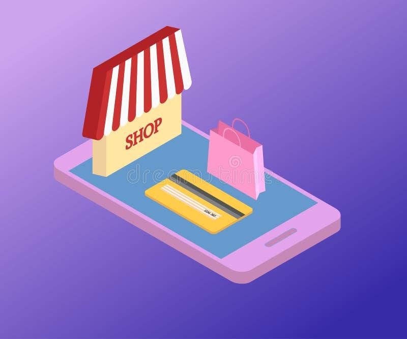 Smartphone, acquisto, borsa isometrica 3D 2 illustrazione vettoriale