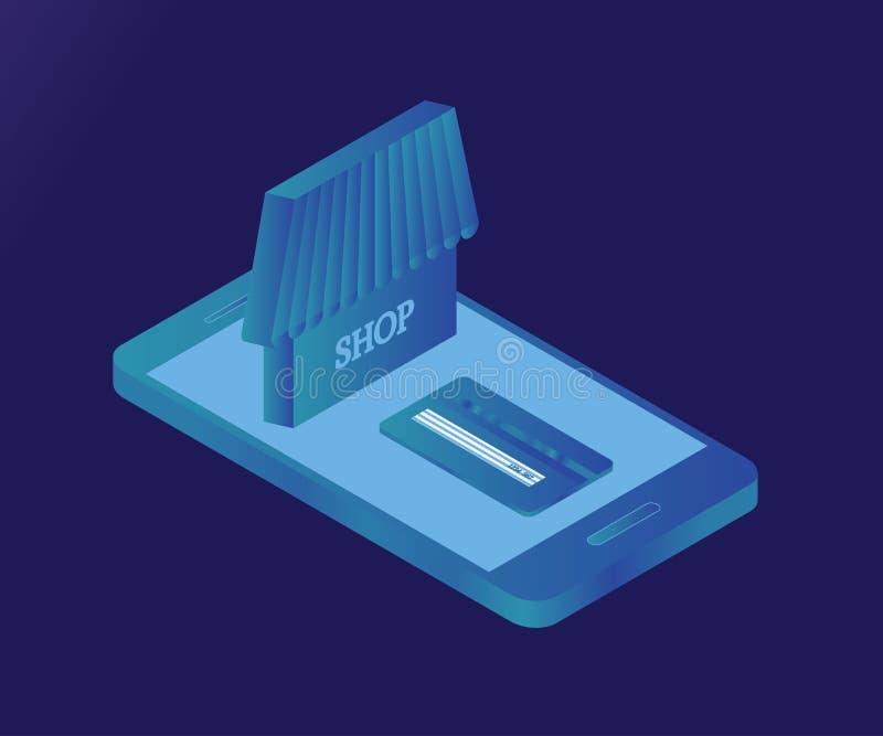 Smartphone, acquisto, 1 ghiaccio isometrico 3D illustrazione di stock