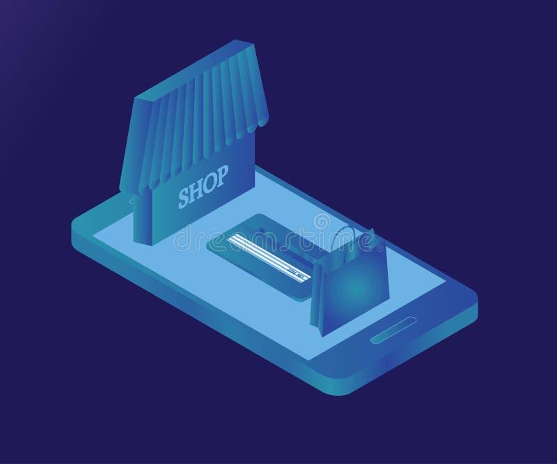 Smartphone, acquisto, ghiaccio isometrico 3D 2 illustrazione di stock