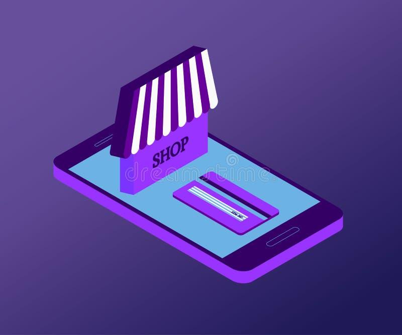 Smartphone, acquisto, 1 viola isometrica 3D illustrazione di stock