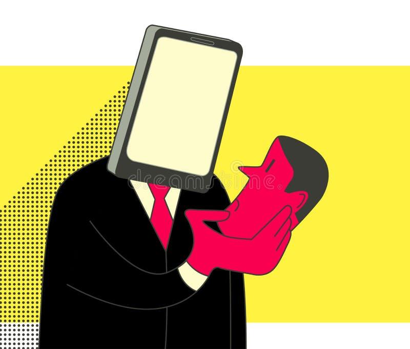 Smartphone addiction. Smartphone head man holding human head. Social media addiction concept illustration stock illustration