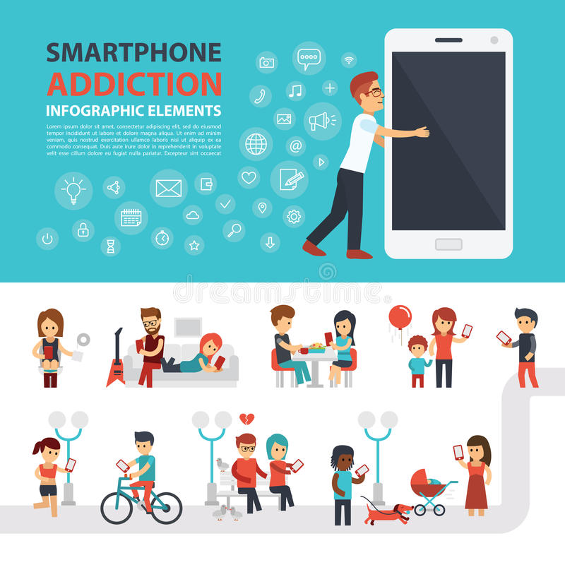 Smartphone addiction infographic elements with icon set, people with phones. Man hugs phone. Flat vector design. Banner. Elements to use for web royalty free illustration