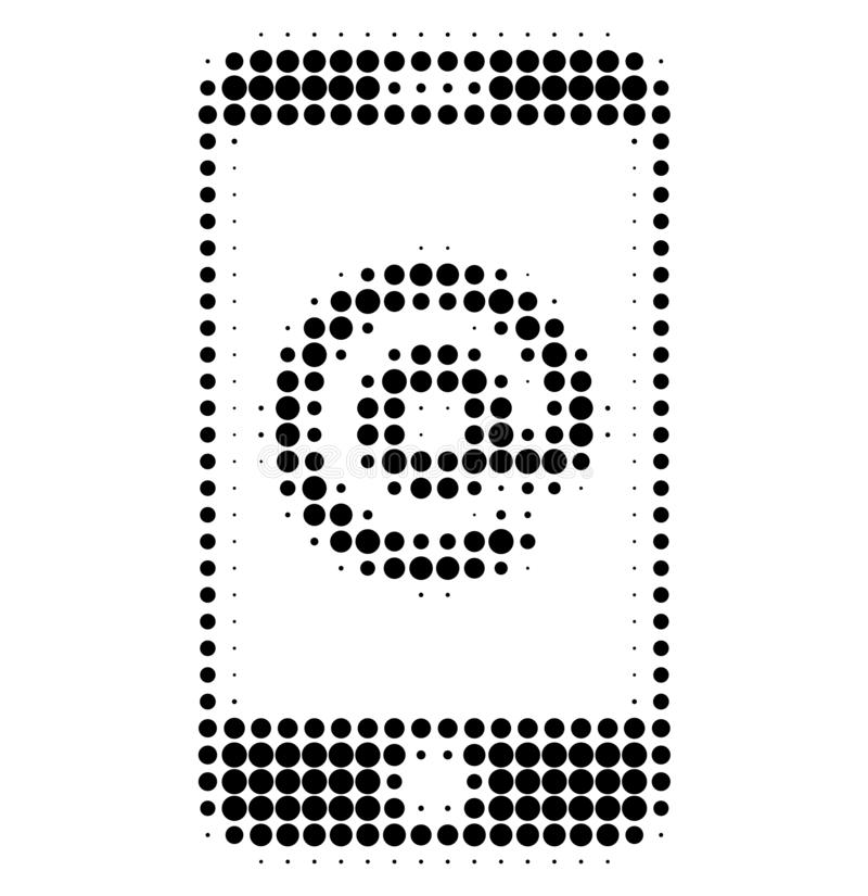 Smartphone Address Halftone Dotted Icon. Halftone array contains round pixels. Vector illustration of smartphone address icon on a white background vector illustration