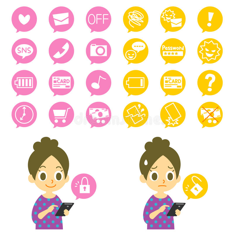 Smartphone, advantage and disadvantage. File icons set royalty free illustration