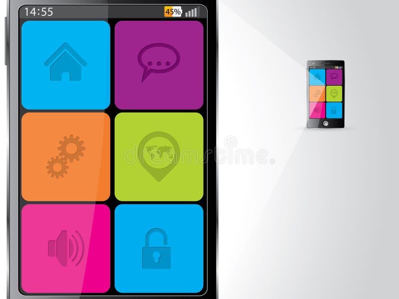 Smartphone agrandó con los iconos coloridos libre illustration