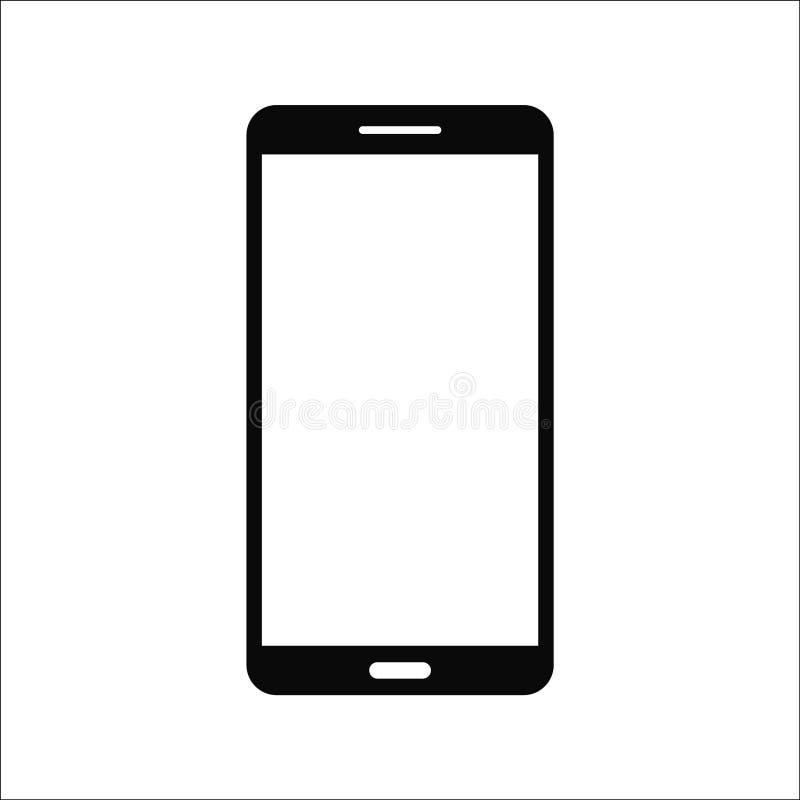 Smartphone aislado del negro del 9:16 de la pantalla táctil en el fondo blanco Ejemplo del símbolo de Smartphone EPS10 compatible stock de ilustración