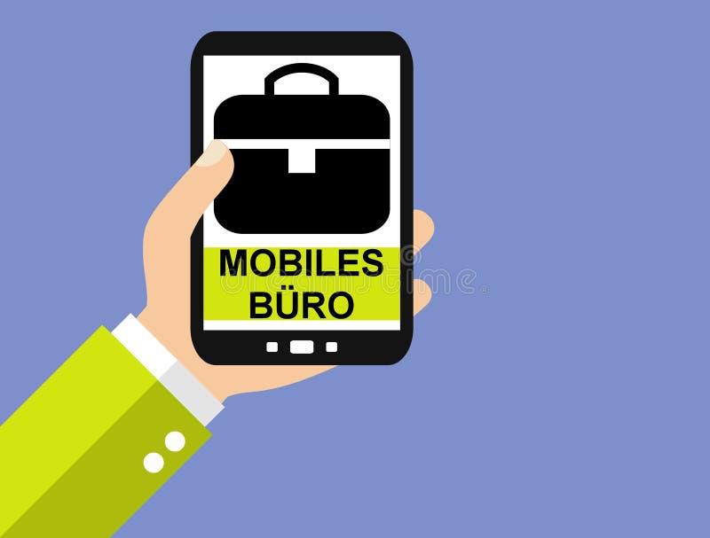 Smartphone : Allemand de bureau mobile - conception plate illustration de vecteur