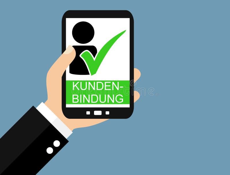 Smartphone : Allemand de fidélité de client - conception plate illustration de vecteur