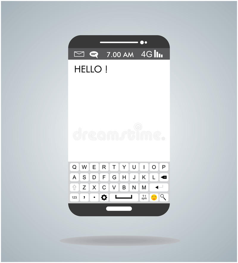Smartphone android illustration with qwerty keyboard touch panel stock image