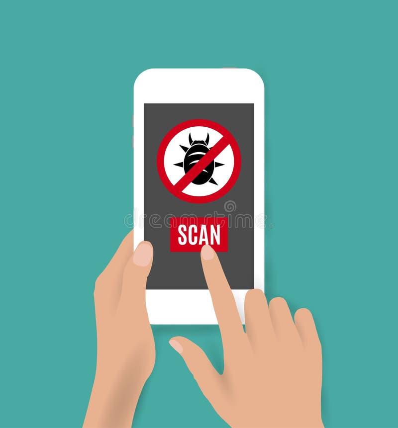 Smartphone antivirus icon vector illustration